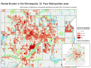 map of rental cost burden twin ities