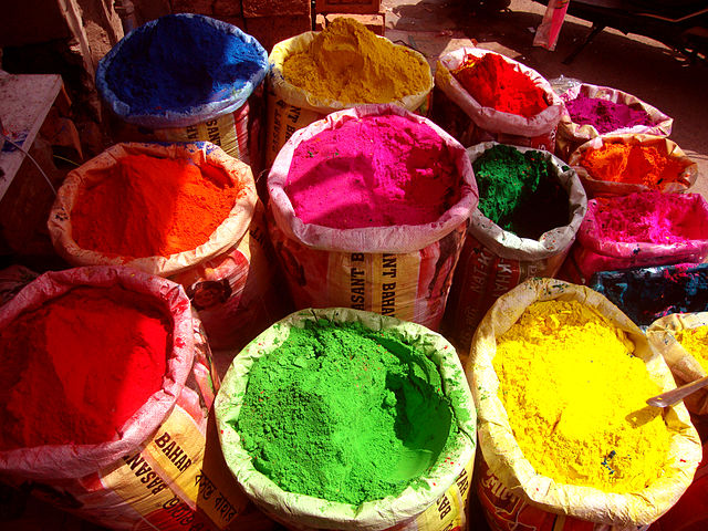 Colors for Holi on sale at a market
